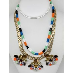 J. Crew Factory Colorful Beaded Crystal Necklace